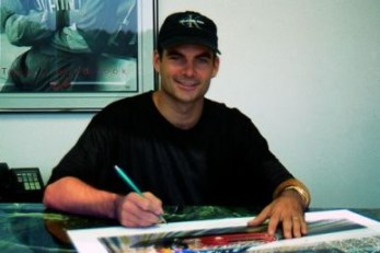 Jeff Gordon Signing the 'Brickyard Thunder' print series